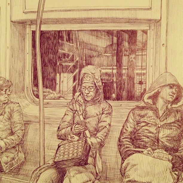 Eine Zeichnung von Menschen in der U-Bahn oder in einem anderen Nahverkehrszug